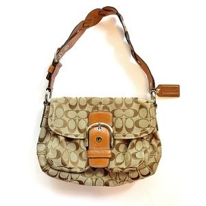 Coach Logo Shoulder Bag Hobo Brown Braided Strap
